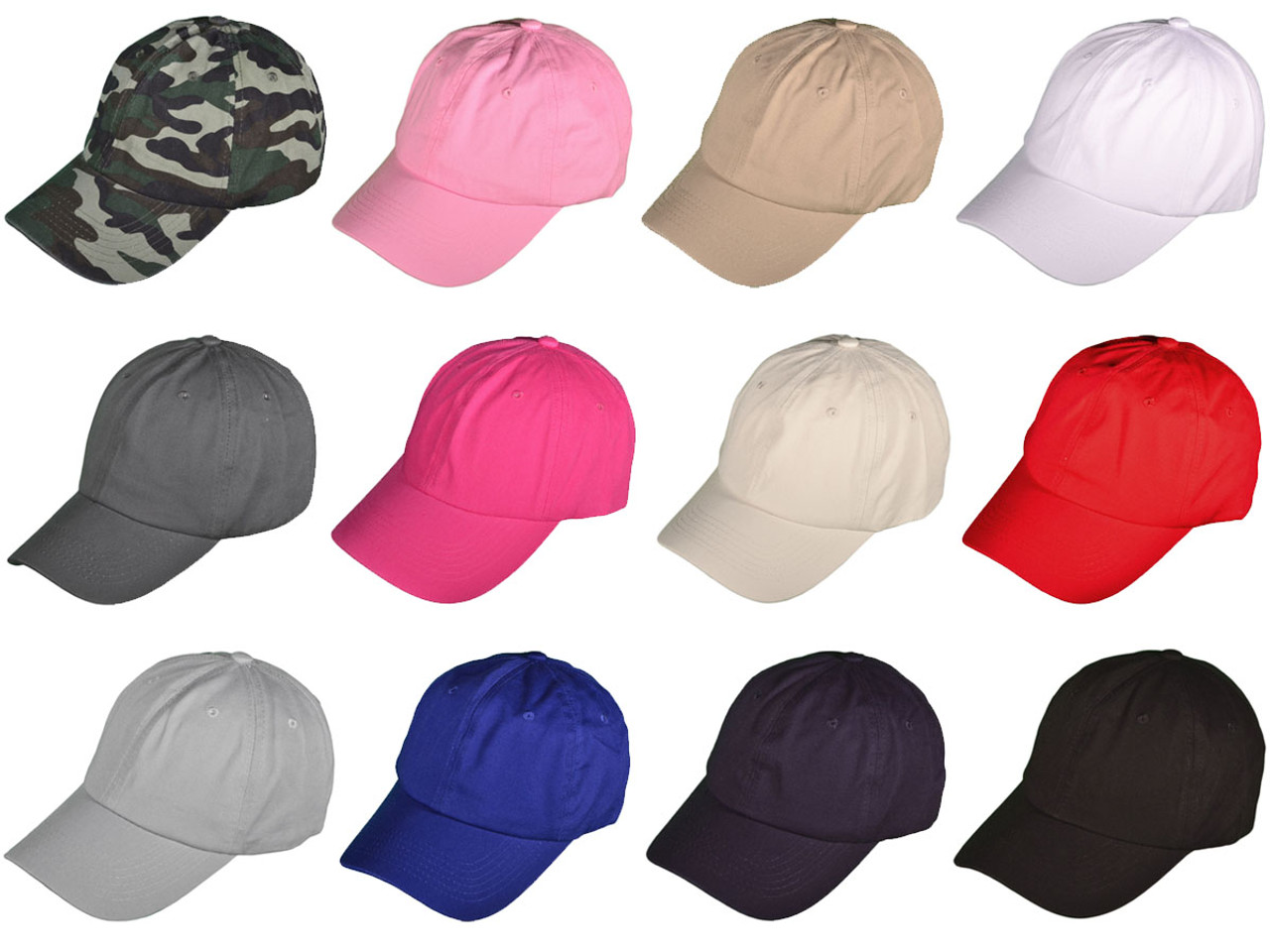 28974898 *Dozen Pack* Blank Dad Hats Polo Baseball Unstructured Cotton With ...
