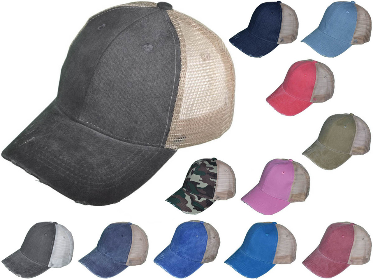 ca99768c3 Vintage Mesh Trucker Hats - BK Caps Low Profile Structured Pigment-Dyed  Cotton (12 Colors Available) - 5026