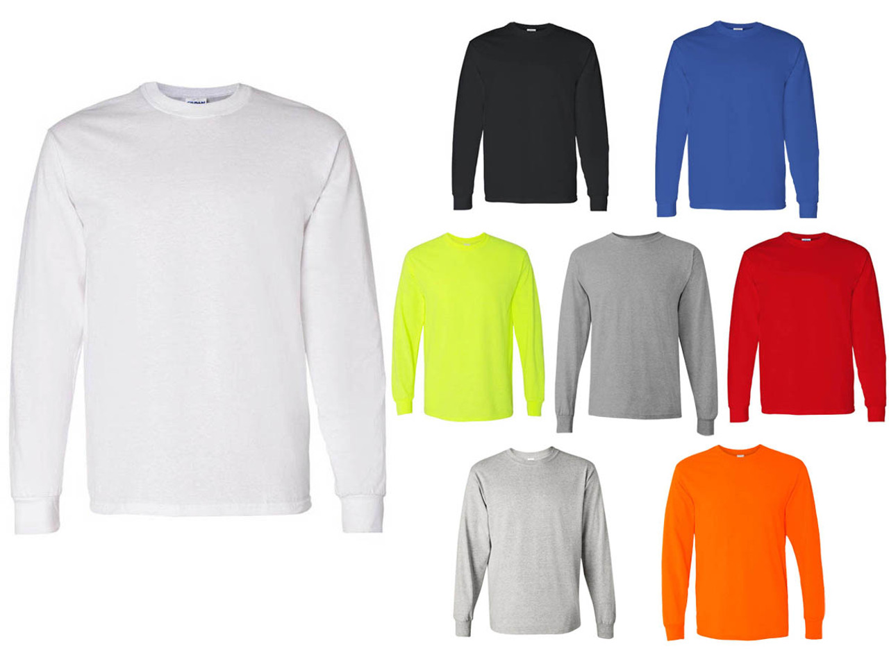 100% top quality quite nice performance sportswear Long Sleeve T‑Shirts Gildan G5400 Adult Unisex 5.3 oz Heavy Cotton (8  Colors Available) - 5045