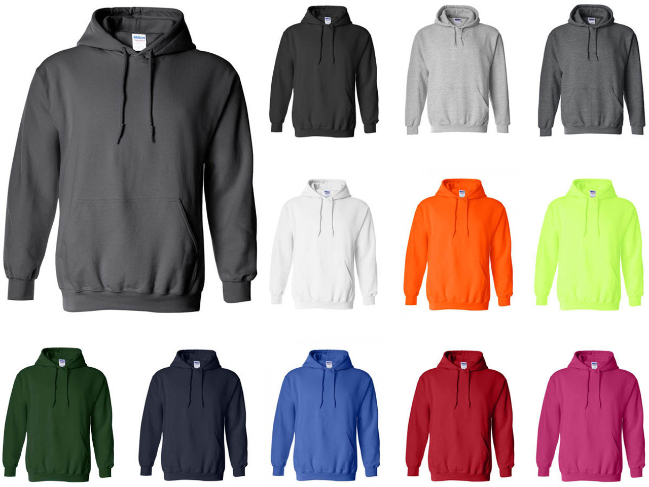 18500 Gildan® Heavy Blend™ Adult Hooded Sweatshirt Fleece Pullover Hoodie (12 Colors Available) 5080