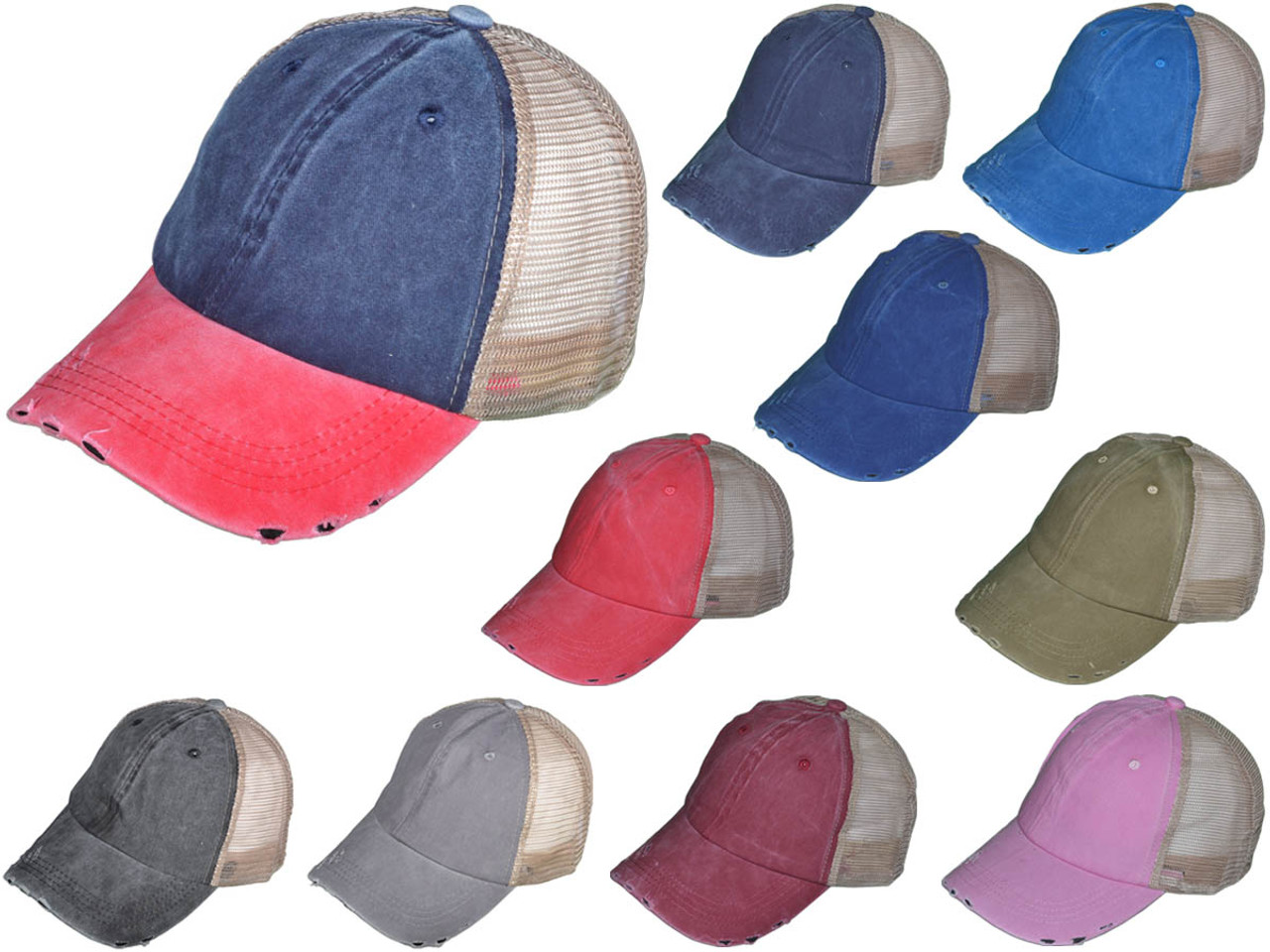 1c1503f8a47 Wholesale Distressed Mesh Trucker Hats - BK Caps Low Profile Unstructured  Pigment-Dyed Cotton (Navy Red Khaki)