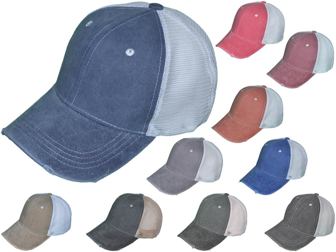 fe233af37 Vintage Pigment Dyed Trucker Hats - BK Caps Low Profile Structured Brushed  Distressed Cotton Twill (10 Colors Available) - 5155