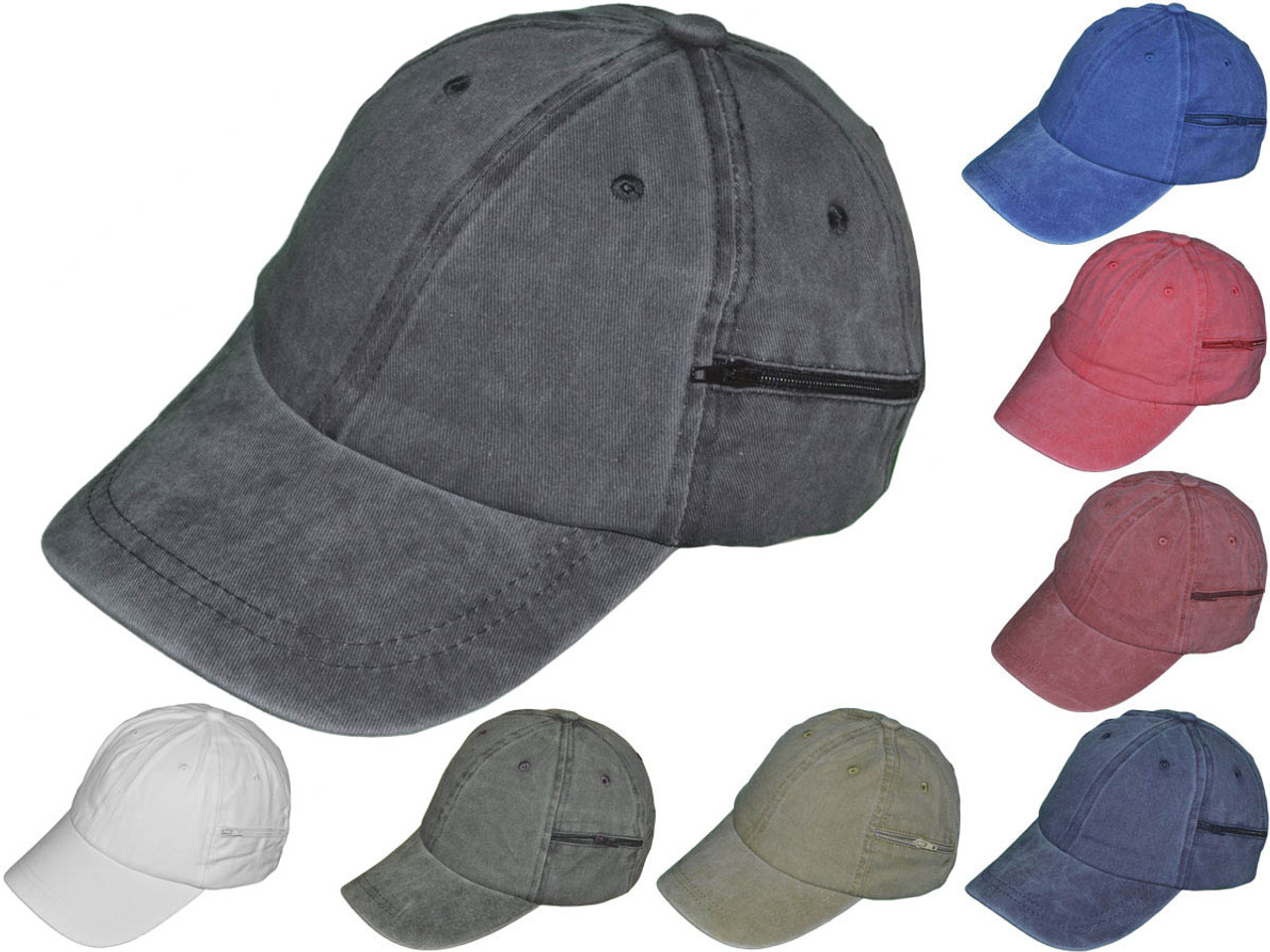 Zipper Pocket BK Caps Blank Dad Hats - Unstructured Cotton Polo ...