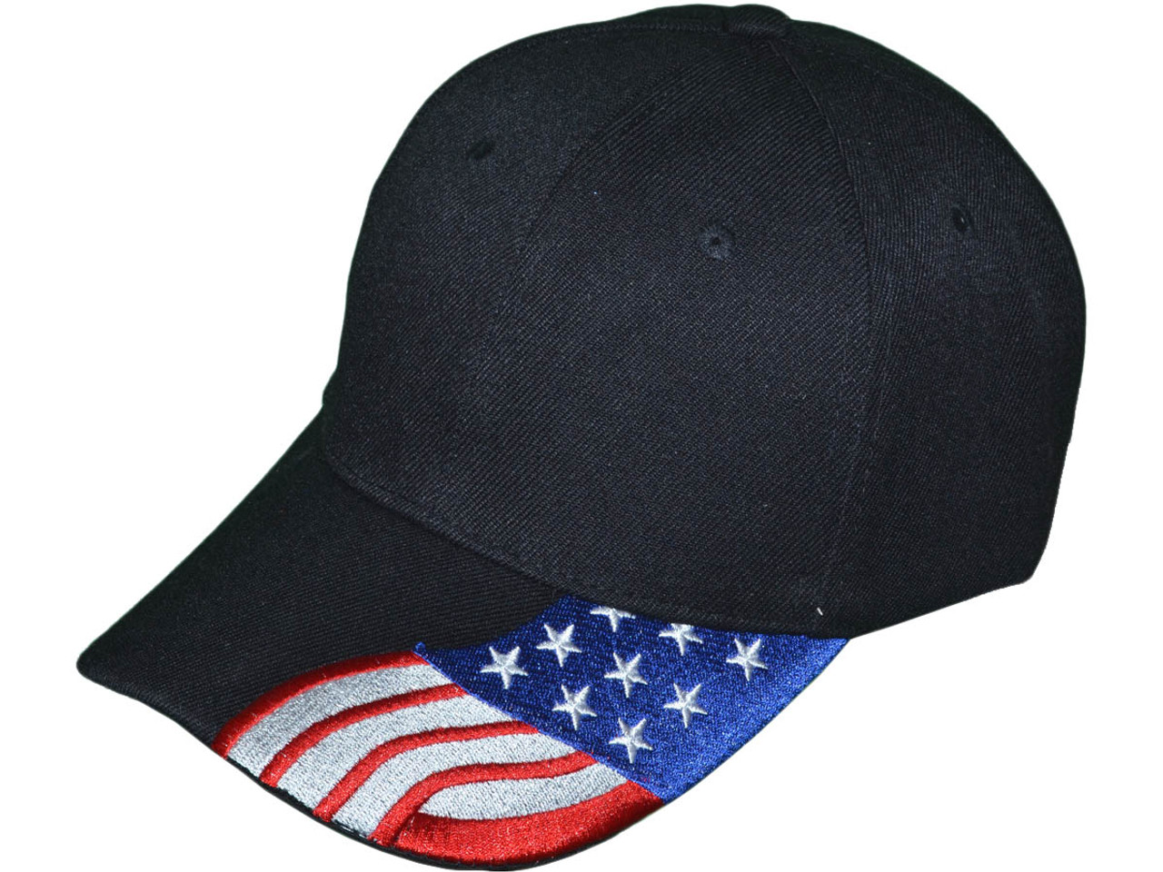 Patriotic Baseball Hats - USA Flag Embroidered on Bill BK Caps (Black) -  5211 24a1b0d4472
