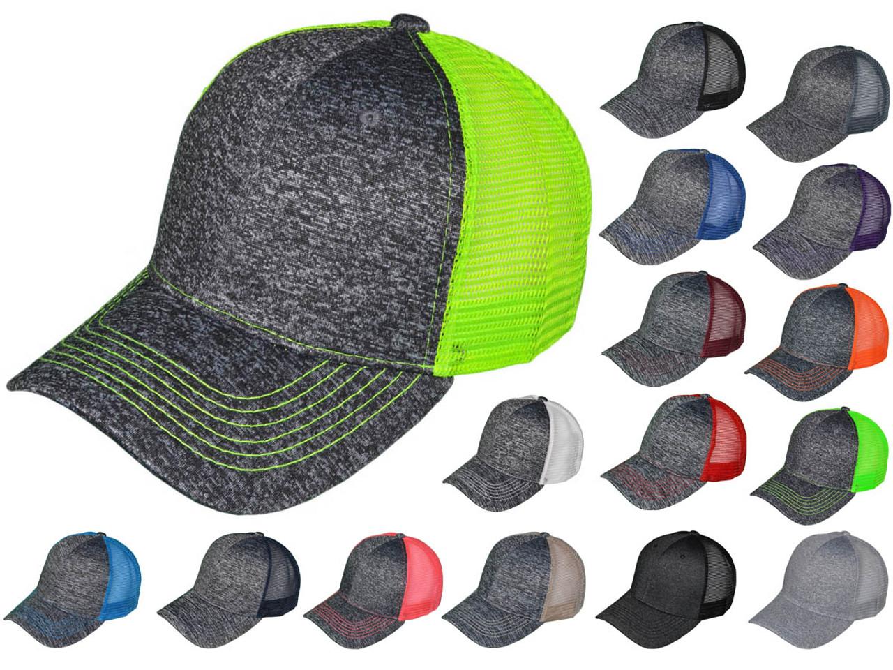 73de7fe8 Melange Trucker Hats - Structured Mesh 2 Tone BK Caps (16 Colors Available)  - 5215