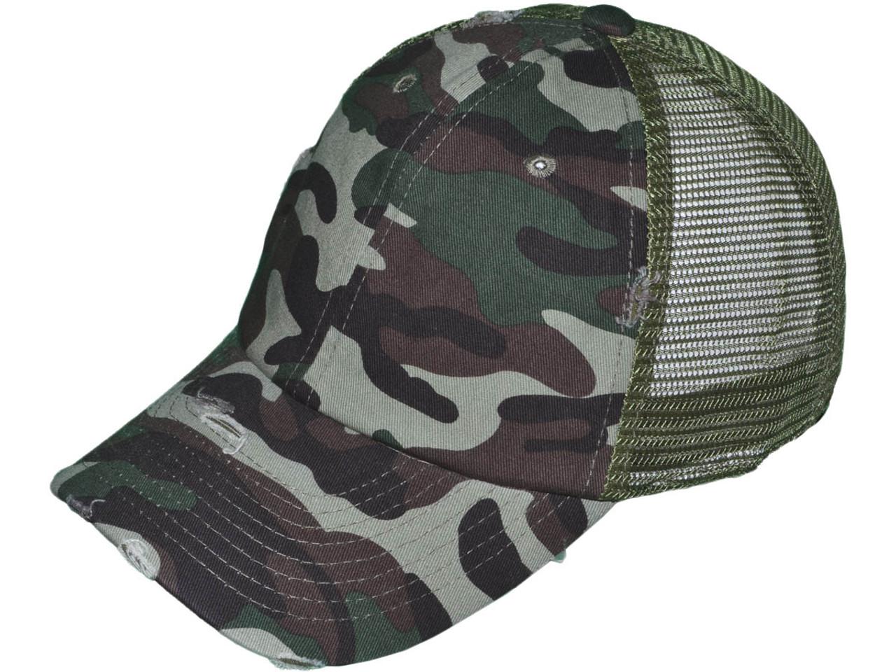 a0ce858d35cdb Camouflage Wholesale Distressed Mesh Trucker Hats - BK Caps Low ...