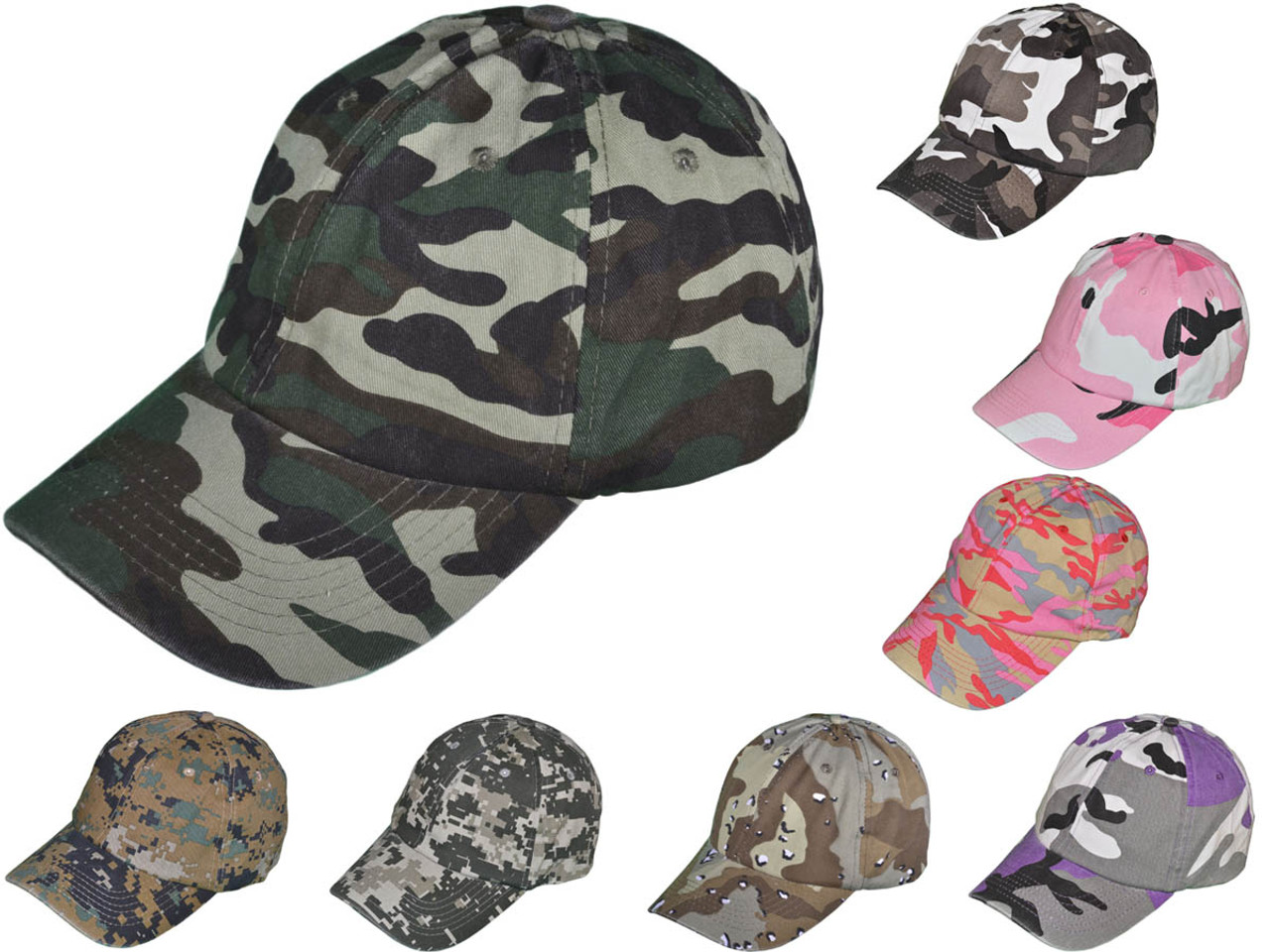 219d08431 Camo Dad Hats - BK Caps Unisex Cotton Polo Unstructured Low Profile  Baseball Caps With Buckle Back Closure (8 Colors) - 5232