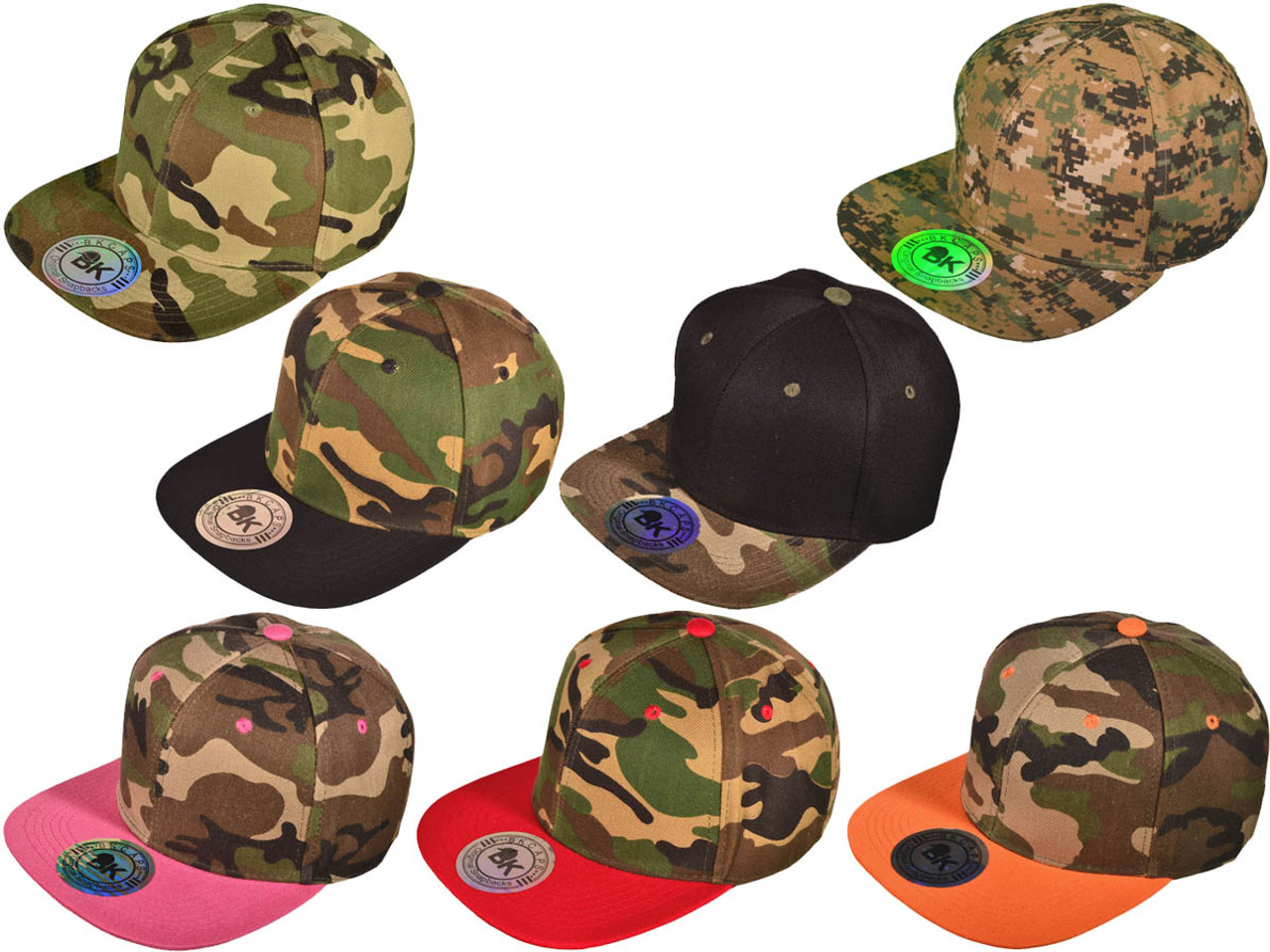 Vintage Snapback Hats >> Camo Snapback Hats Bk Caps Flat Bill Plain Vintage Snapbacks With Same Color Underbill 5234