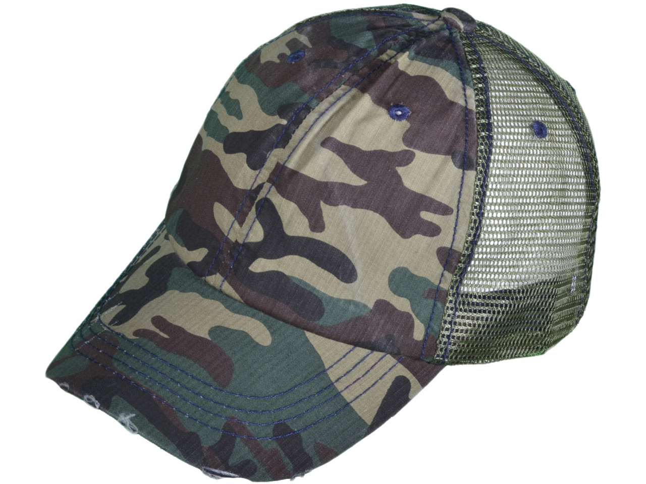 173e17c14a7 Camouflage Vintage Trucker Hats - Low Profile Unstructured Washed ...