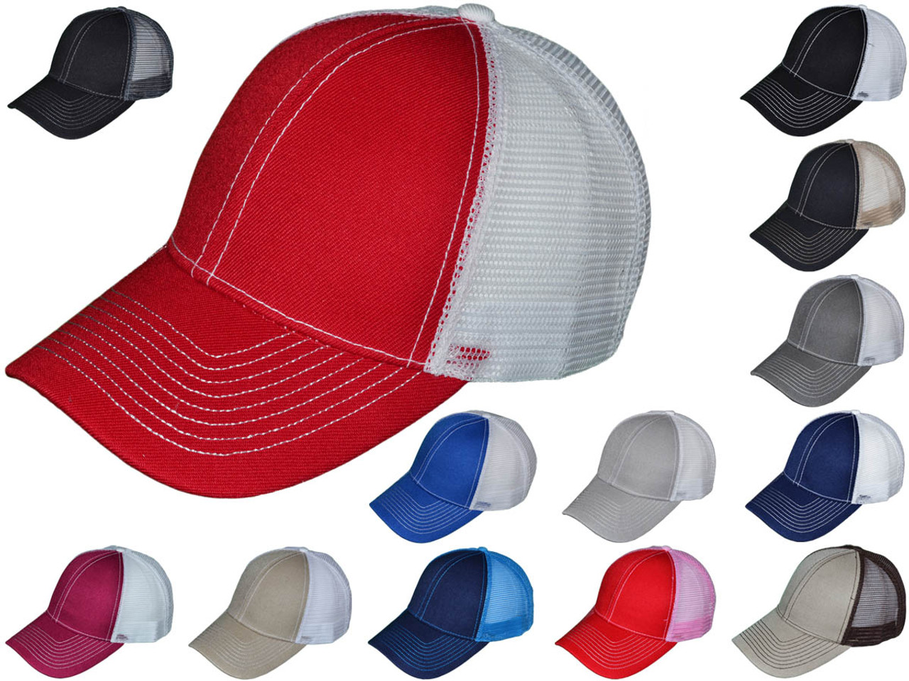 Contrast Stitching Trucker Hats - BK Caps Structured 6 Panel (13 Colors  Available) - 5249