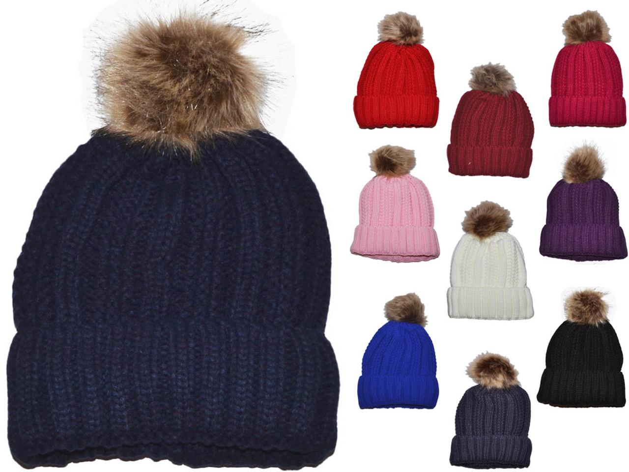Pom Pom Hat Beanie Hat Winter Hat Knit Hat Pom Pom Beanie 3 Color Beanie Hat