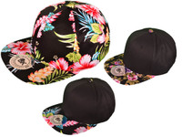 373ec8d273d Floral Cotton Snapback Hats - Flat Bill BK Caps 2 Tone flower (Choose  Color Pattern) - 2985