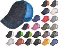 Vintage Trucker Hats - Low Profile Unstructured Washed Cotton Blend Twill  Mesh BK Caps (24 Colors) - 21504 9e12715efbb