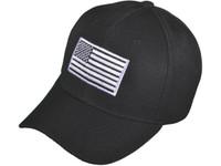 80814add Patriotic Baseball Hats - BK Caps Embroidered White USA Flag (Black) - 5038
