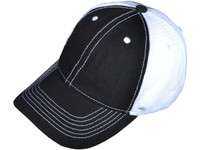 049ab8343d4 Contrast Stitching Trucker Hats - BK Caps Low Profile 6 Panel Brushed Cotton  (Black White) - 5087