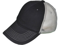 dd2cf82e7ba Brushed Cotton Unstructured Trucker Hats - BK Caps Low Profile 6 Panel 2  Tone (Black Beige) - 5154