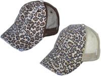 344c1ca6714 Animal Print Vintage Trucker Hats Soft Structured Distressed Washed Canvas Leopard  Ladies BK Caps (Brown   Khaki) - 22065