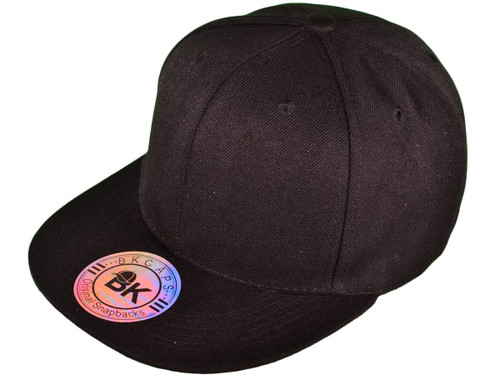 ... Blank Snapback Hats - BK Caps Flat Bill Plain Vintage Snapbacks with  Same Color Underbill ... 082a85dadae