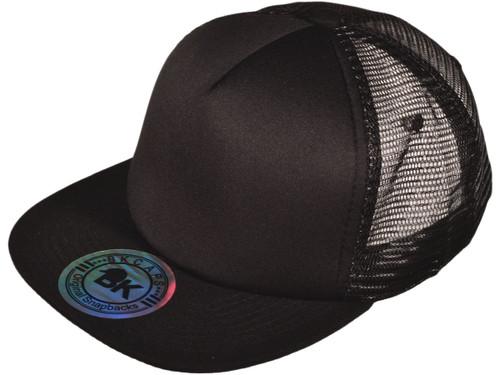 ... 5 Panel Foam Front Trucker Mesh Back Hats BK Caps 2 Tone Flat Bill  Polyester ... 36fe47ccfa35