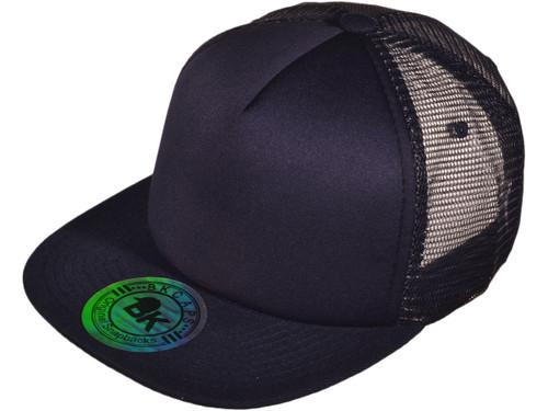 ... 5 Panel Foam Front Trucker Mesh Back Hats BK Caps 2 Tone Flat Bill  Polyester ... c90df1636ac5