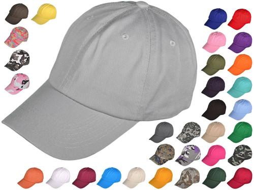 New Unisex Cotton Cap Adjustable Plain Hat Unstructured 14 Colors