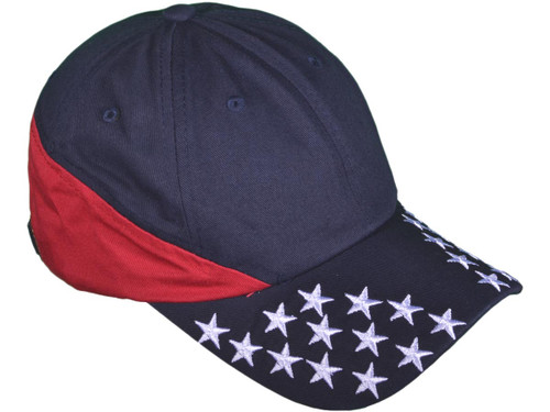 USA Flag Polo Dad Hats - Patriotic BK Caps 6 Panel Unstructured Cotton  Twill - 3879