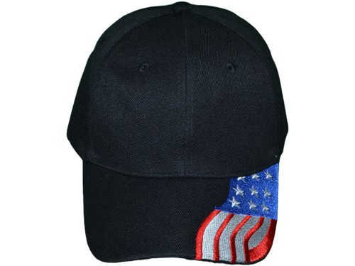 38253a64a7109 ... Patriotic Baseball Hats - USA Flag Embroidered on Bill BK Caps (Black)  - 5211 ...