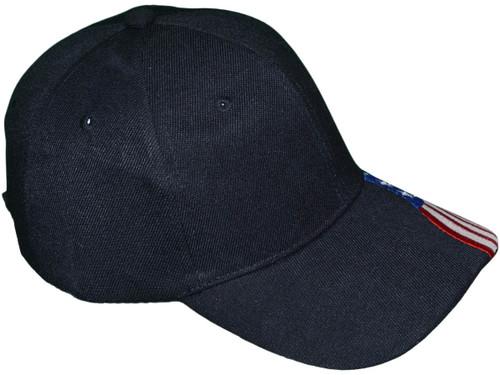 8d3da974b Patriotic Baseball Hats - USA Flag Embroidered on Bill BK Caps (Black) -  5211