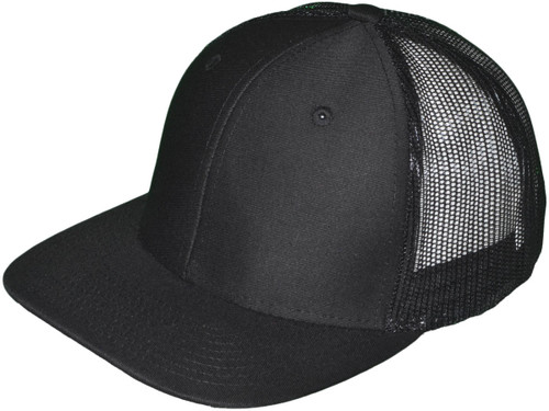 Blank Trucker Hats - 6 Panel SnapBack Mesh 2 Tone BK Caps (19 Colors) Wholesale Flat Bill