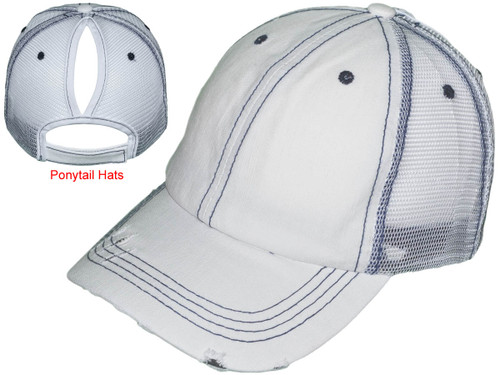 073527906 Ponytail Trucker Hats - Women Low Profile Vintage Unstructured Washed  Frayed Cotton Blend Twill Mesh Messy High Bun BK Caps (8 Colors) - 5241