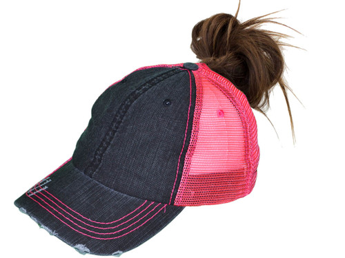 056893d29 ... Ponytail Trucker Hats - Women Low Profile Vintage Unstructured Washed  Frayed Cotton Blend Twill Mesh Messy ...