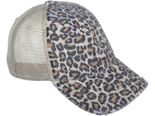 01a2c424 ... Animal Print Vintage Trucker Hats Soft Structured Distressed Washed  Canvas Leopard Ladies BK Caps (Brown ...