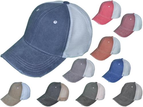 Wholesale Distressed Mesh Trucker Hats Bk Caps Low