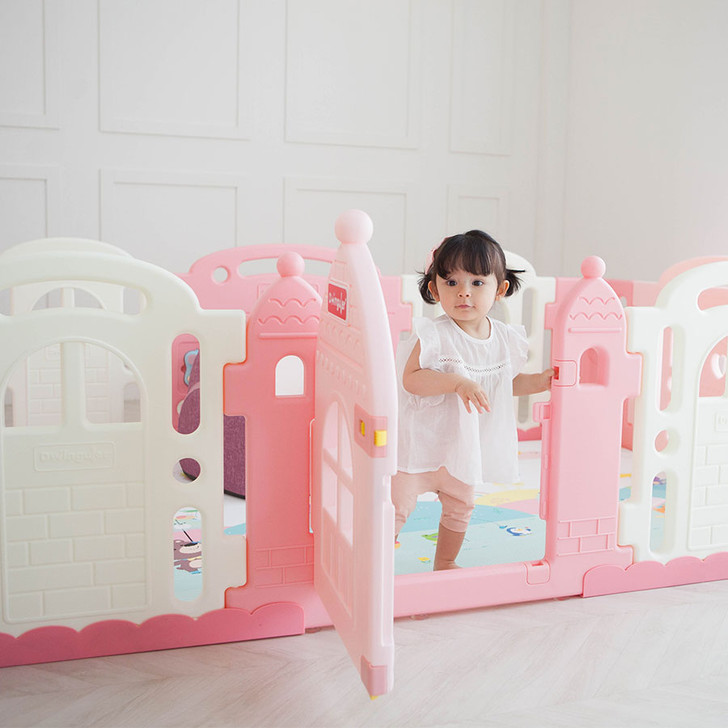 Dwinguler Castle-2 Playpen for Baby - Baby Pink