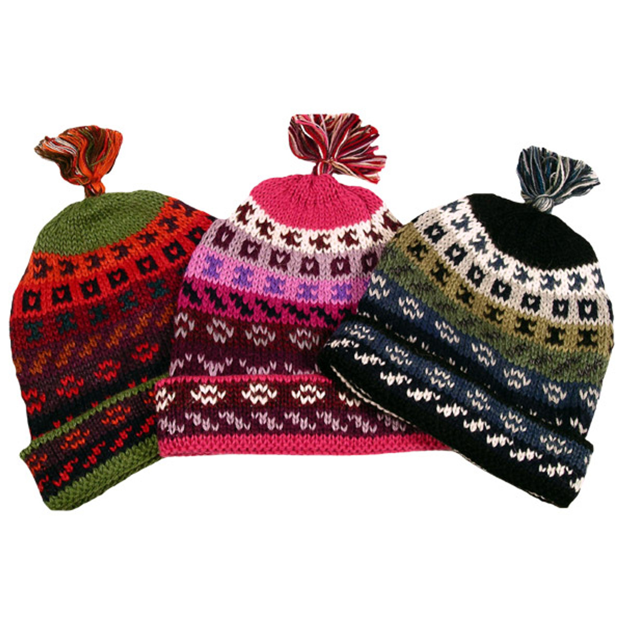 56986b6915acc2 100% Alpaca Striped/Geometric Beanie Hat Lined Fleece Adult - Incazteca
