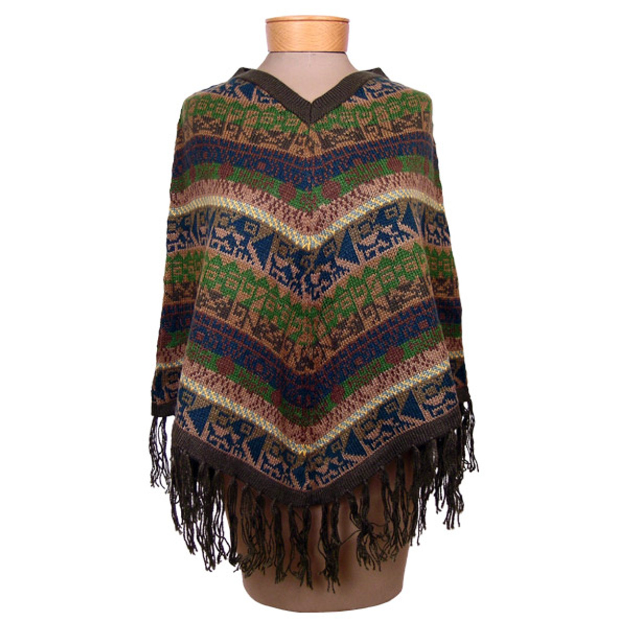 e6b73a025 V Shaped Striped/Geometric Poncho Alpaca 100% Fine Knit - Incazteca
