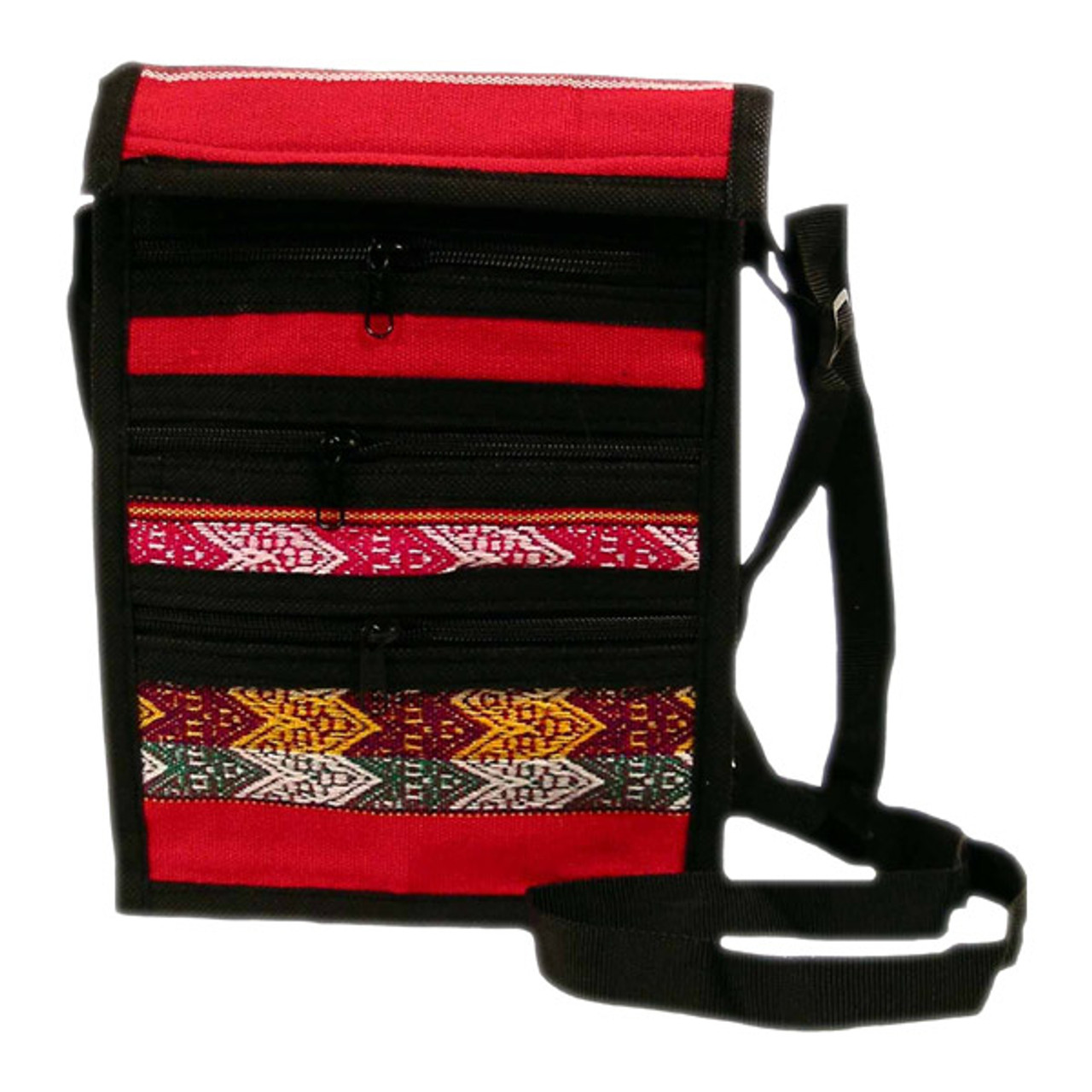 sturdy Andean purse//bag leather LAST ONE zippered and comes in red Peruvian