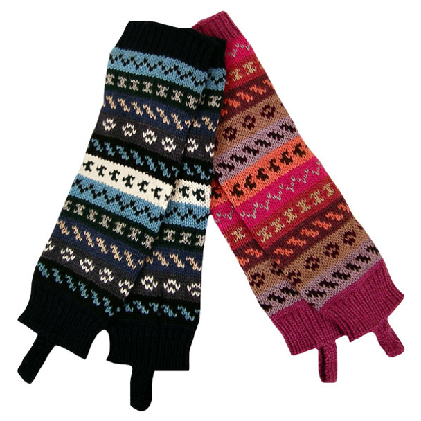 100% Alpaca Yarn Leg Warmers Geo Patterns Peru Heavy Knit (30)