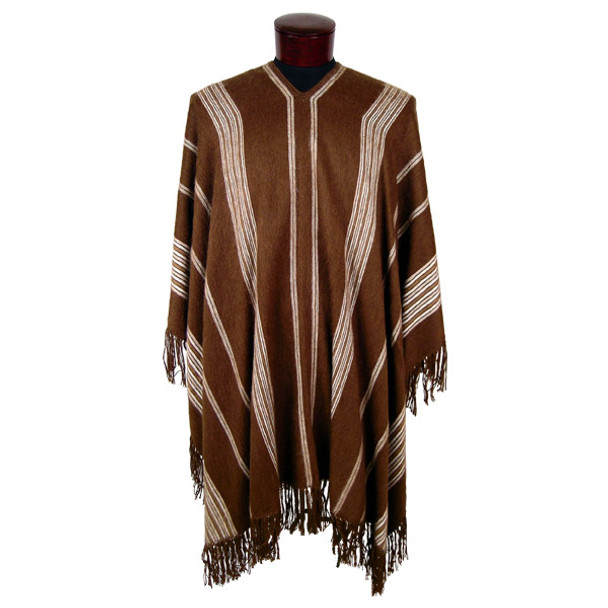 Reversible Brushed Striped Poncho Natural 100% Alpaca Adult One Size