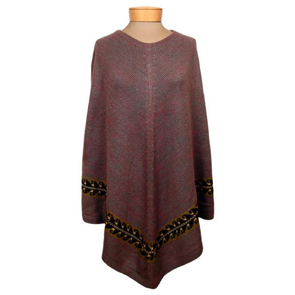 Peruvian Knit Melange Poncho One Size Long Adult