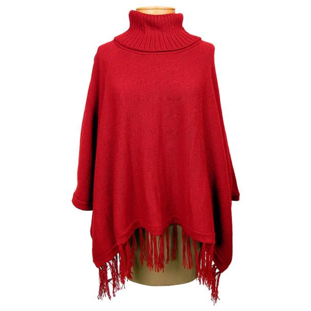 Knit Turtleneck Poncho w/ sleeves One Size