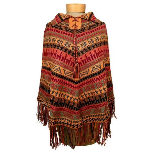100 % Alpaca Knit Poncho w/ Laced Collar