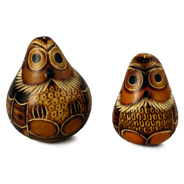Gourd owl maraca rattlers and carved Peru