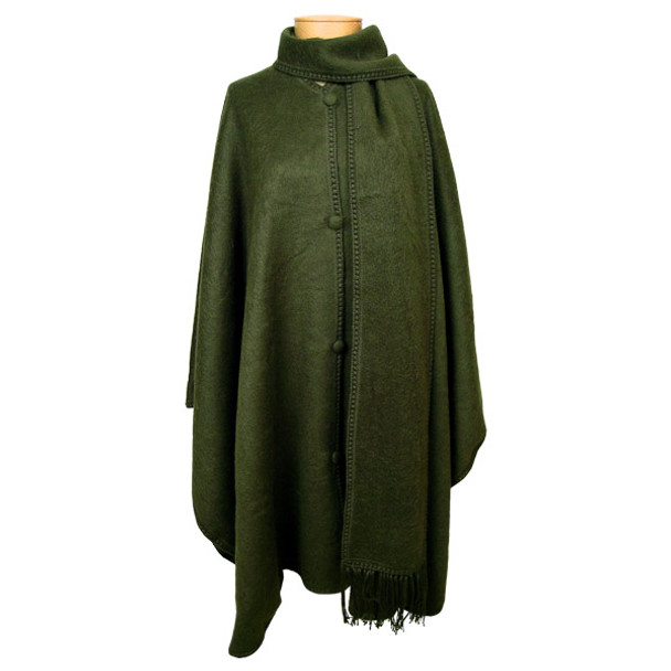 Alpaca Long Cape with Scarf and Buttons One Size