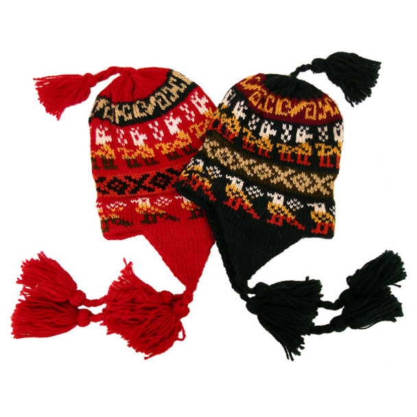 Alpaca Blend Child Chullo Hat w/ poms Assorted Colors One Size
