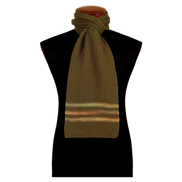 Alpaca Solid Scarf w/ Stripes