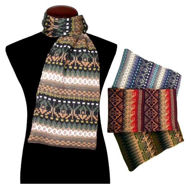 Barcelona Knit Scarf 100% Alpaca Geometric Pattern from Peru