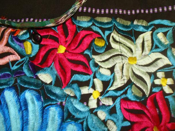 Embroidered Detail Floral Huipil Tote Bag