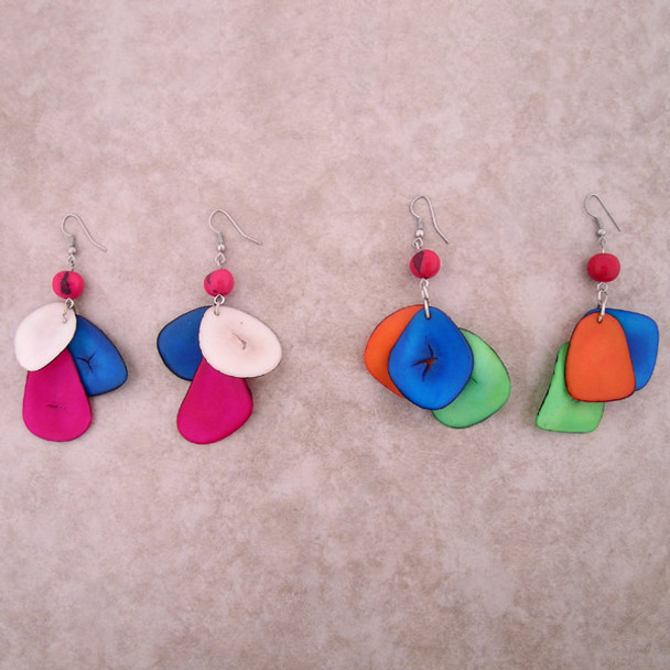 Amazon Tagua Tricolor Earrings