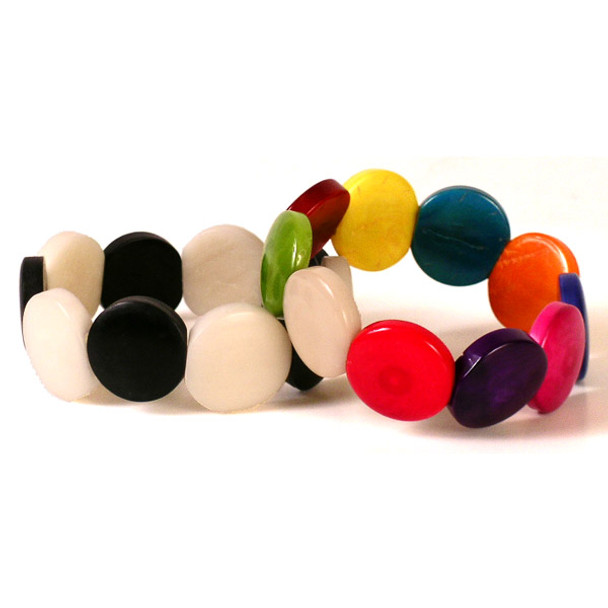 Amazon Tagua Disk Bracelet Multicolor One Size